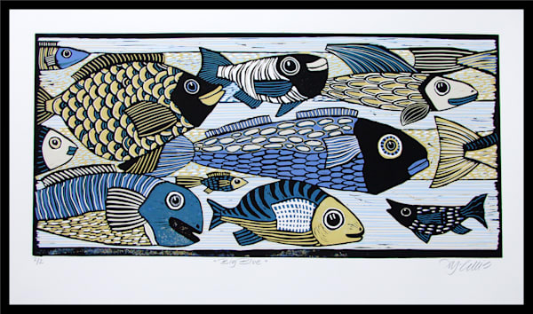 colorful fish in blue and green in this original linocut by printmaker Mariann Johansen-Ellis, art, paintings, ocean