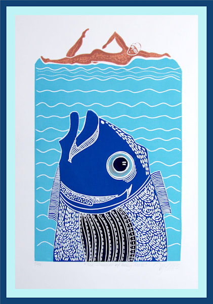 Swimming in the sea can be dangerous in this linocut. Printmaking with fish and swimmer. Ocean linocut print, art, painting