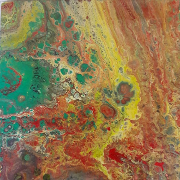 Acrylic pour in red, green and yellow