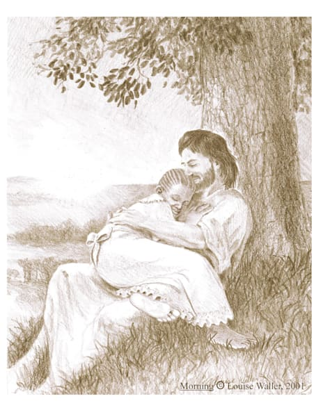 Free Christian art. A black girl rests in Jesus' lap in the morning light.