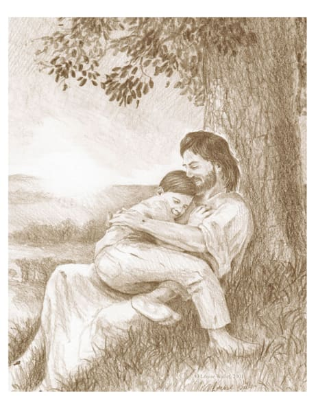 A boy rests in Jesus' lap in the morning light under a tree.