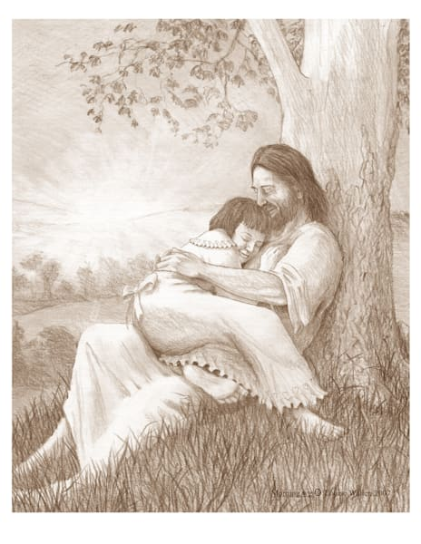 A girl rests in Jesus' lap in the morning light under a tree.