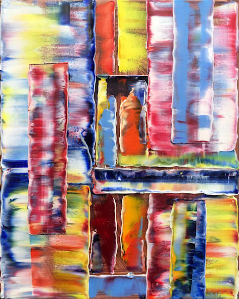 Shutters original textured oil painting