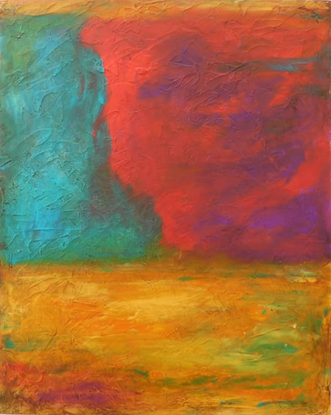 abstract, red, gold, teal, farm