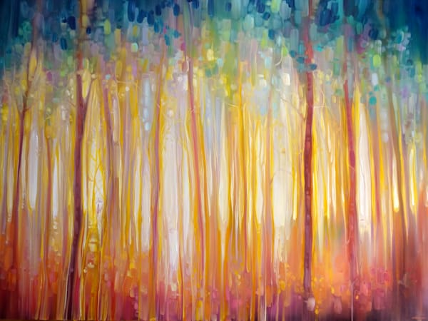 Print of Golden Forest Hidden Unicorn Oil Painting by Gill Bustamante