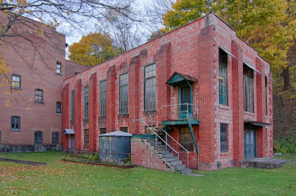 Colorful Red Brick Historic Silk Mill Building in Lonaconing Maryland