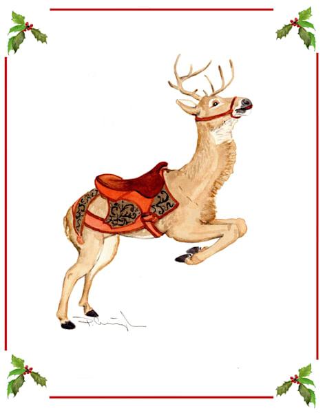 carousel reindeer xmas card 2008