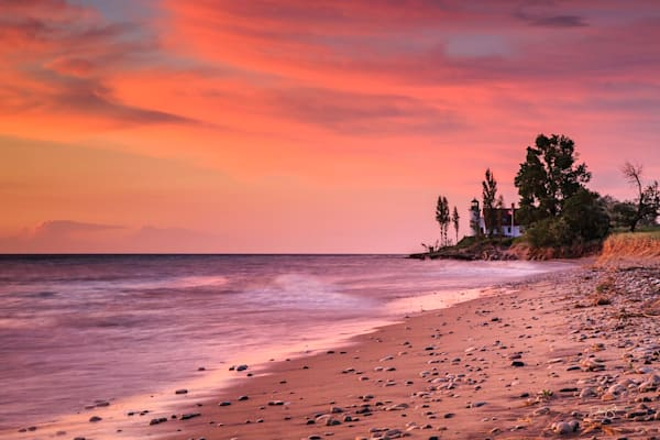 Crimson Sunset At Point Betsie Photography Art | Drew Smith Photography, LLC