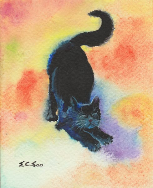 Stretchy Midnight - Black Cat Painting