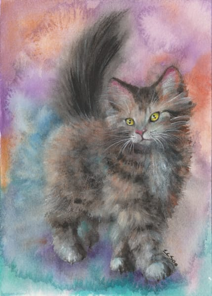 Fluffy Cat Painting