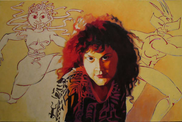 """Marie Hines Cowan oil-on-canvas painting """"The Gorgon"""""""