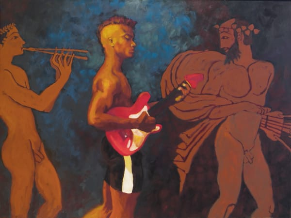 """Marie Hines Cowan's original oil-on-canvas painting """"Red and Black Figured Amphorae"""""""