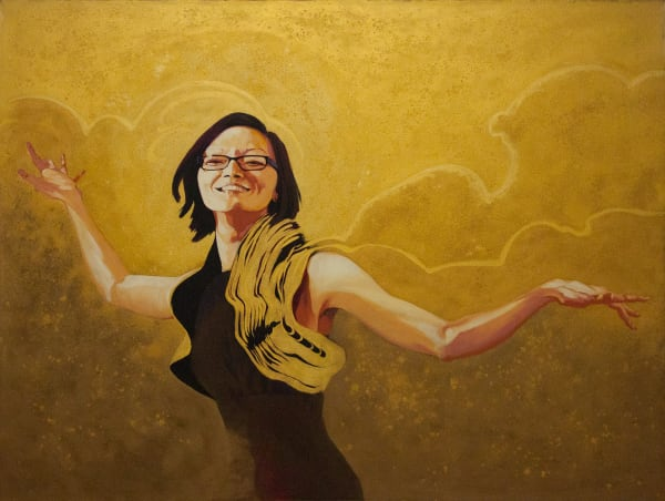 """Marie Hines Cowan original oil-on-canvas painting """"Nike in a Party Dress"""""""
