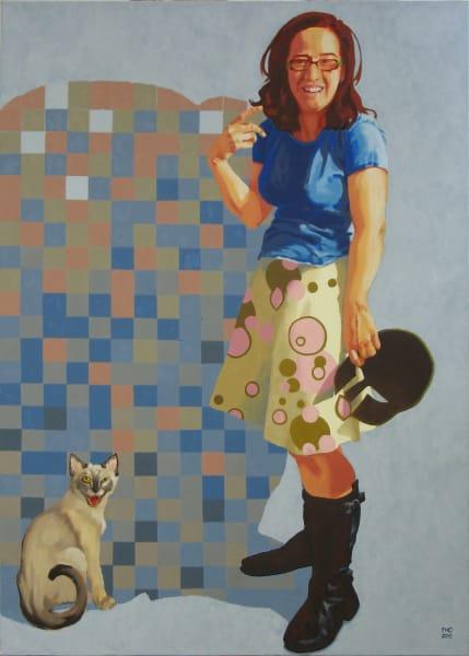 "Marie Hines Cowan original oil painting ""Athena in the Studio 2"""