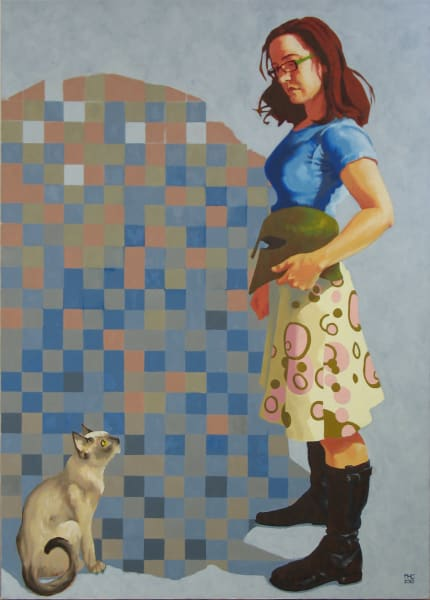 """Marie Hines Cowan original oil-on-canvas painting """"Athena in the Studio 1"""""""