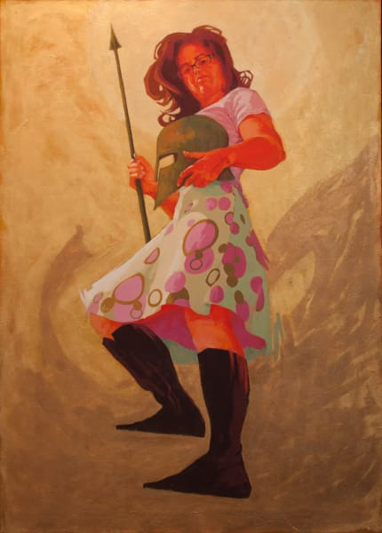 """Marie Hines Cowan's original oil-on-canvas painting """"Athena at the Institute of Fine Arts"""""""