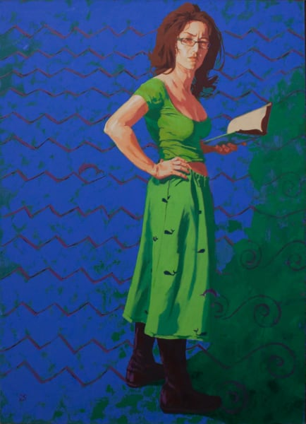 """Marie Hines Cowan original oil-on-canvas painting """"Athena at Barnes & Noble"""""""