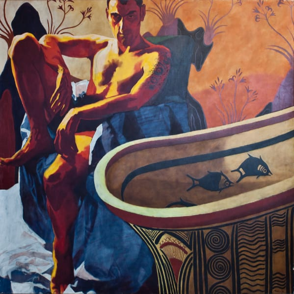 """Marie Hines Cowan original oil-on-canvas painting """"There's a Faun in the Bathroom"""""""