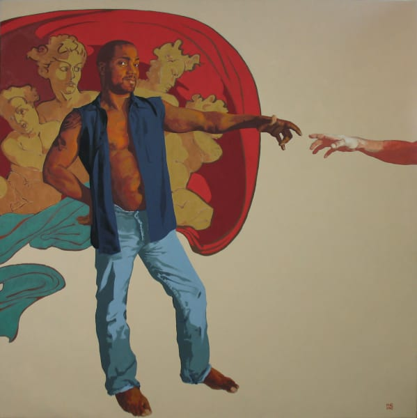 "Marie Hines Cowan figurative, literature-based oil painting ""Cartoon for the Sistine Chapel"""