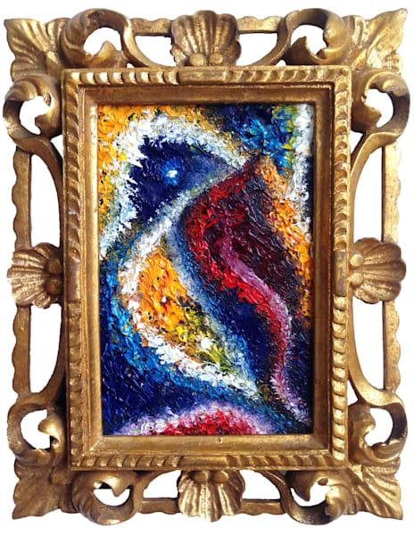 Tsunami unique miniature oil painting