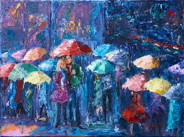 Lovers Walk in Paris Rain III