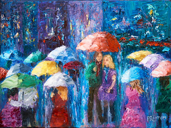 Lovers Walk In Paris Rain Iv Art | Pamela Ramey Tatum Fine Art