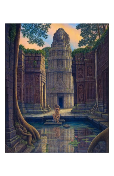 Temple Steps 11x17 inch ecoprint