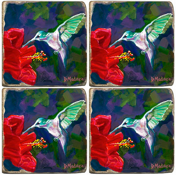 Hummingbird & the Hibiscus Coaster Set of 4