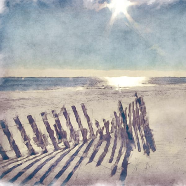 Beach Fence by Artist Noah Bay Wrapped Canvas Art Photo Graphic Print