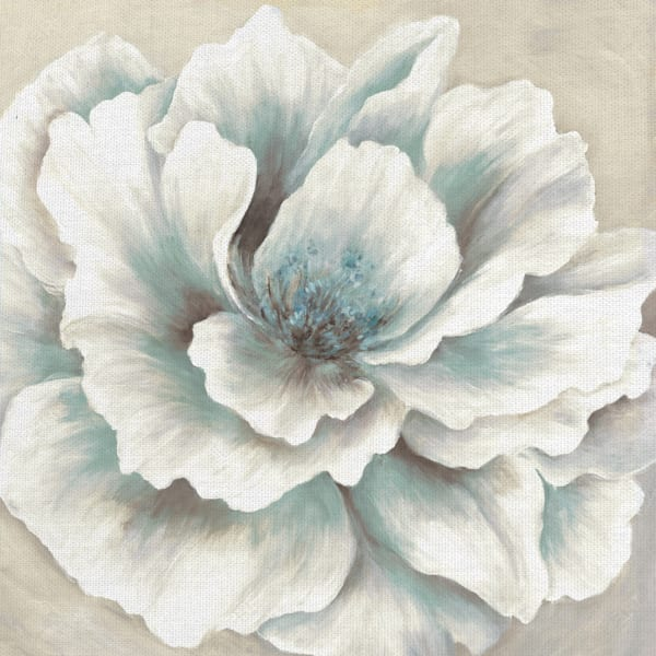 Blue and Cream Peony by Artist Willowbrook Fine Art Wrapped Canvas Painting Print