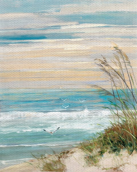 Beach at Dusk by Artist Sally Swatland Wrapped Canvas Art Painting Print