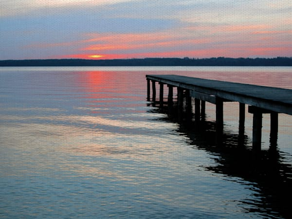 Twilight Pier 1 by artist Ilona Wellmann Wrapped Canvas Photo Graphic Art Print