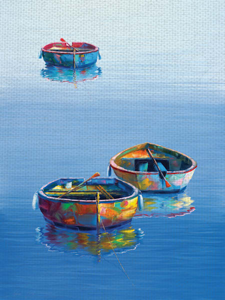 Three Boats Blue by Artist Edward Park Wrapped Canvas Painting Art Print