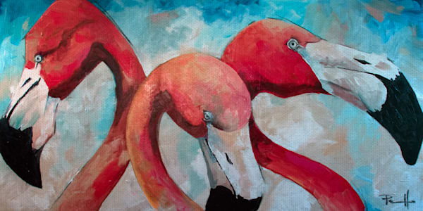 Flamingo Joes by artist Sean Parnell Wrapped Canvas Art Painting Print