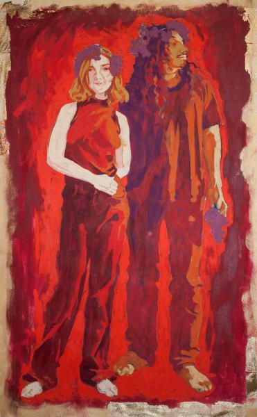 "Marie Hines Cowan original oil sketch titled ""Bacchanal"""