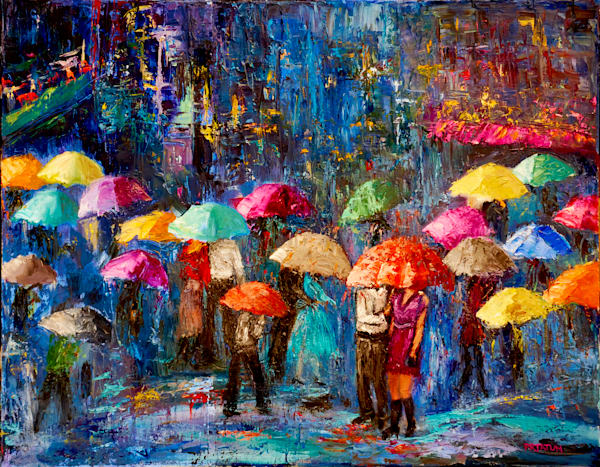 lovers, walking under umbrella, nyc, rainy night