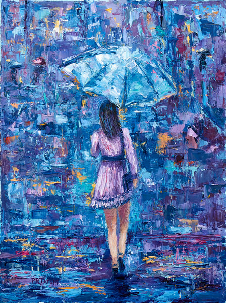 blue umbrella girl in purple dress print