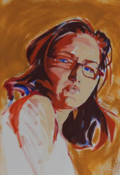 "Marie Hines Cowan original sketch done with oil painting titled ""Athena 1"""