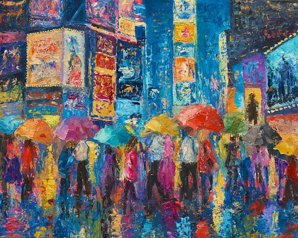 lovers walk in times square rain ii