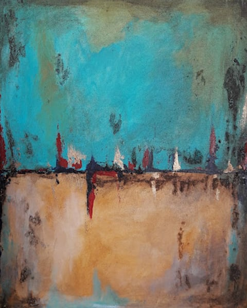 Acrylic painting in gold and teal, see what you want to see