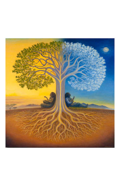 Django's Tree 11x17 inch ecoprint