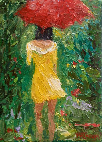 Umbrella Girl under red umbrella print