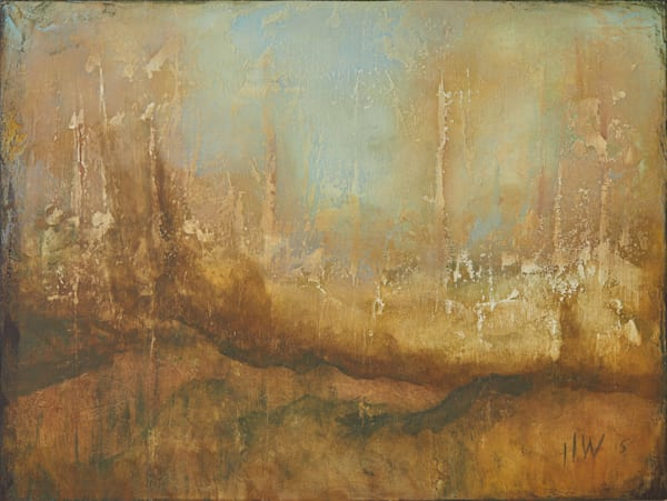 Stone Trail, mixed media abstract landscape by Holly Whiting