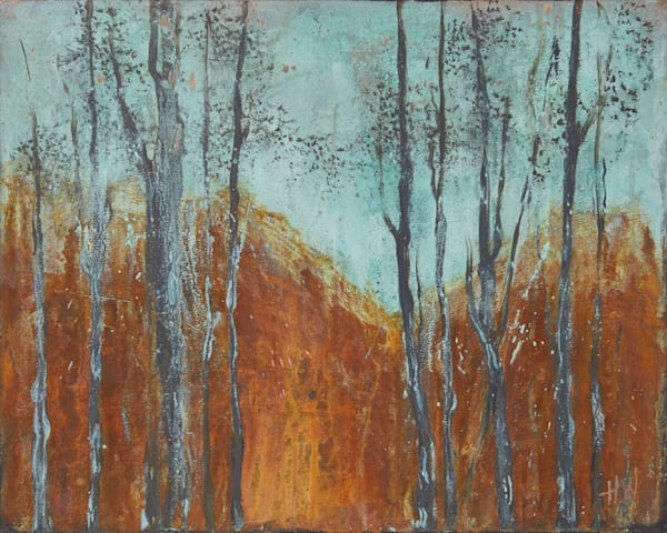 Cold Mountain semi-abstract landscape painting for sale