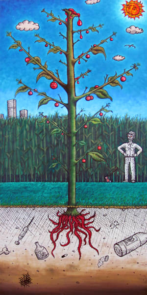 The Reaping surrealist oil painting