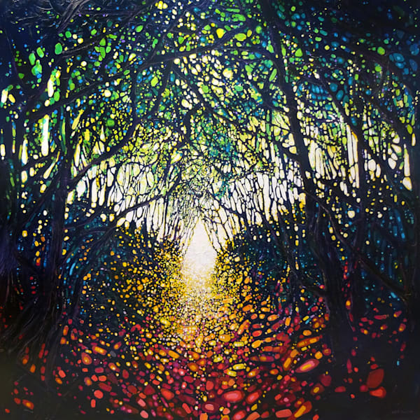 dark forest path painting