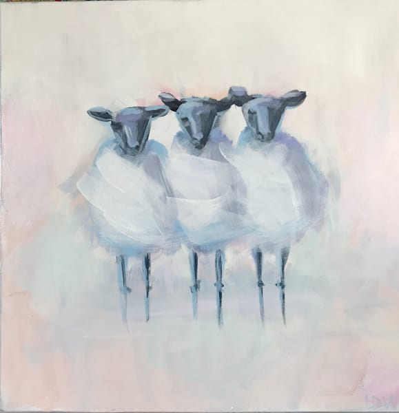 THREE SHEEPS TO THE WIND 20 X 20 Now $350!!