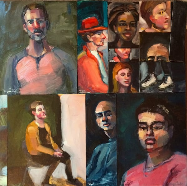 "Striking "" 11 More Portraits"" portrait series. Eleven individual oil portraits of different people on panel mounted together on one 24"" x 24""x 1.5"" deep wood cradleboard."