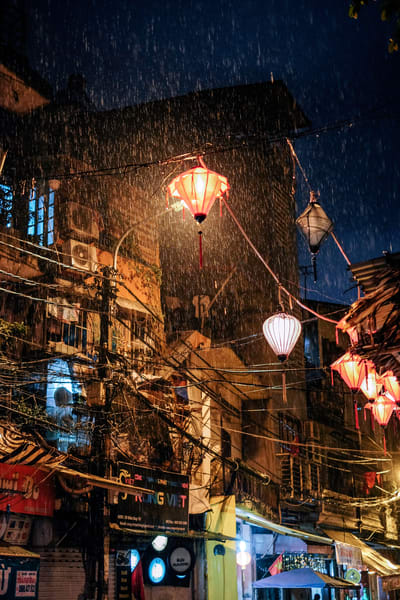 Fine Art Prints, Rain through a Red Lantern, Hanoi, Vietnam