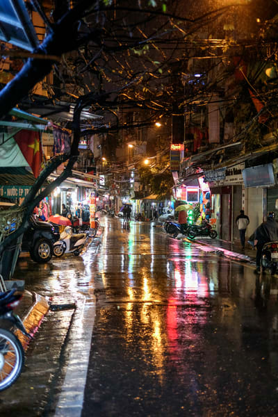 Fine Art Prints, Rainy Night in the Old Quarter of Hanoi, Vietnam